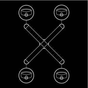illustrazione hogtie a croce per polsiere e cavigliere