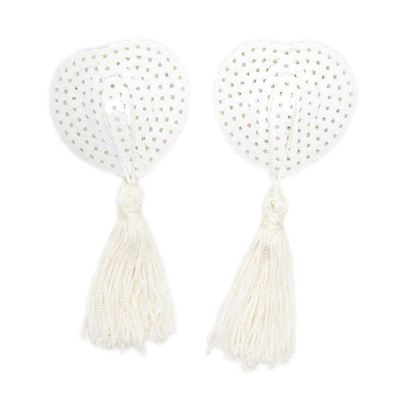 copricapezzoli bianchi con strass a forma di cuore