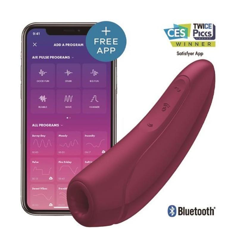 pulsatore e vibratore clitoride satysfer curvy rosso