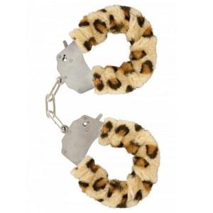 manette leopardate con pelo